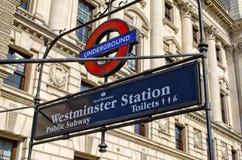 Estación de Westminster Imágenes de archivo libres de regalías