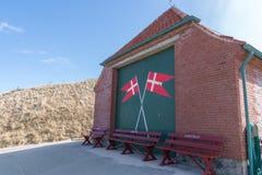 Estación del bote de salvamento, Lønstrup, Dinamarca fotos de archivo