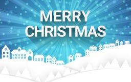 Estación del invierno de la Feliz Navidad con el campo y el copo de nieve de las casas en el fondo del cielo libre illustration