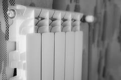 Estación del invierno termóstato de calefacción del radiador Mantiene caliente protección de helada foto de archivo libre de regalías