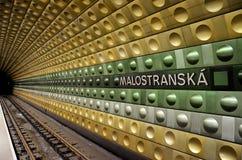 Estación del metro en la ciudad de Praga fotos de archivo