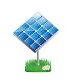 Estación del panel solar en la hierba aislada en blanco libre illustration