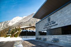 Estación del teleférico de Aiguille du Midi en invierno Imagenes de archivo