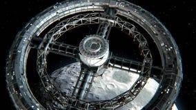 Estación espacial circular en fondo de la luna libre illustration