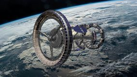 Estación espacial internacional de Sci Fi ISS que gira sobre la atmósfera de tierras Estación espacial que está en órbita escena  almacen de video