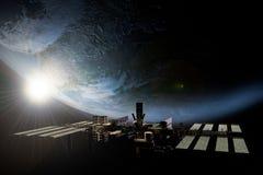 Estación espacial internacional que está en órbita la tierra ilustración del vector