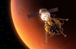 Estación espacial interplanetaria que está en órbita el planeta rojo ilustración del vector