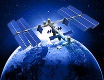 Estación espacial por satélite ilustración del vector