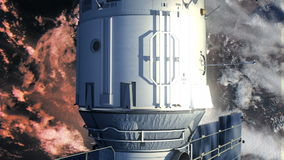 Estación espacial que está en órbita escena de Earth ilustración del vector