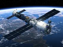 Estación espacial y escena de Spacecraft stock de ilustración
