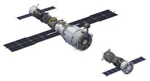 Estación espacial y escena de Spacecraft ilustración del vector