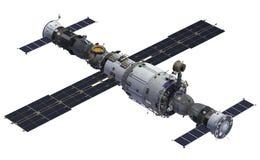 Estación espacial y naves espaciales stock de ilustración