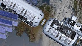 Estación espacial y spacewalking de los astronautas