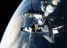 Estación espacial y tierra que está en órbita de la lanzadera ilustración del vector