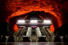 Estación Estocolmo Suecia del centro de Solna fotografía de archivo libre de regalías