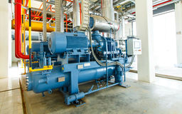 estación industrial de la refrigeración del compresor en la fábrica de la fabricación Fotografía de archivo