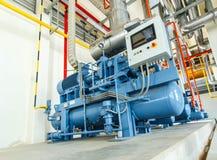 estación industrial de la refrigeración del compresor en la fábrica de la fabricación Foto de archivo libre de regalías