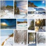 Estación-invierno del collage La naturaleza de Siberia occidental fotos de archivo libres de regalías