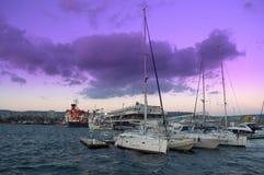 Estación marina de Varna después de la puesta del sol Fotografía de archivo