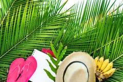 Estación Straw Hat Banana de la playa de los accesorios de las cosas Foto de archivo libre de regalías