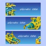 Estación subacuática, tarjetas en un fondo azul stock de ilustración