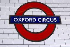 Estación subterráneo del circo de Londres Oxford Fotos de archivo libres de regalías
