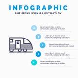 Estación, subterráneo, tren, línea icono del transporte con el fondo del infographics de la presentación de 5 pasos libre illustration