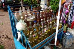 Estación típica del combustible en Camboya Foto de archivo libre de regalías