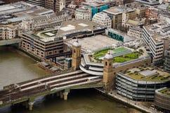 Estación y puente, Londres de la calle del cañón Fotografía de archivo libre de regalías