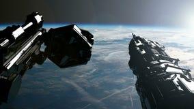 Estaci?n espacial que est? en ?rbita escena de Earth ilustración del vector
