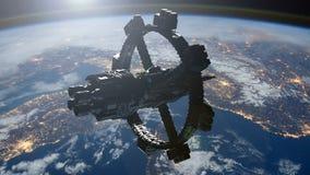 Estaci?n espacial que est? en ?rbita escena de Earth stock de ilustración