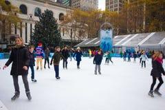 Estación de la Navidad del parque NYC de Bryant Imágenes de archivo libres de regalías