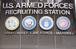 Estación de reclutamiento de las fuerzas armadas de arma de los E.E.U.U. Fotografía de archivo libre de regalías