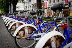 Estacionamento da bicicleta em Oslo, Noruega Imagem de Stock