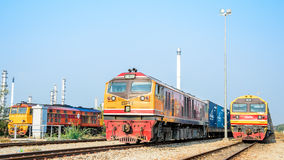Estacionamento de três locomotivas. Fotografia de Stock Royalty Free