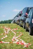 Estacionamento do carro na linha fotos de stock royalty free
