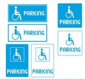 Estacionamento do símbolo da cadeira de rodas ou da pessoa da desvantagem Fotos de Stock