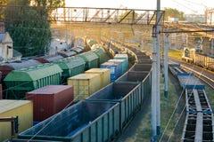 Estacionamento dos trens de mercadorias Foto de Stock