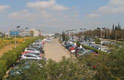 Estacionamiento al aire libre ocupado en Nicosia imagen de archivo libre de regalías
