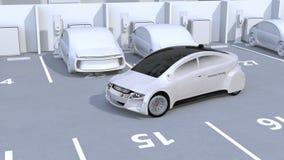Estacionamiento autónomo del coche por el sistema inteligente de la ayuda del estacionamiento ilustración del vector