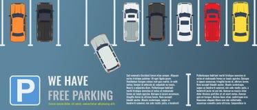 Estacionamiento de la ciudad con un grupo de opinión superior de diversos coches Coche-parque público Ejemplo plano del vector pa stock de ilustración