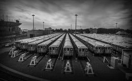 Estacionamiento de la estación de tren en Nueva York Imagenes de archivo