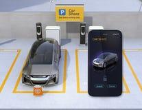 Estacionamiento de la parte del coche y smartphone app para compartir libre illustration
