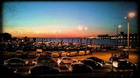 Estacionamiento de la puesta del sol Imagenes de archivo