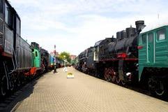 Estacionamiento de técnicas ferroviarias en un museo Brest Bielorrusia Fotografía de archivo libre de regalías
