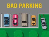 Estacionamiento malo o incorrecto del coche stock de ilustración