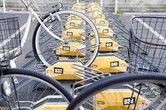 Estacionamiento pagado de la bicicleta Imagen de archivo libre de regalías