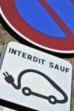 Estacionamiento prohibido a excepción de los vehículos eléctricos libre illustration