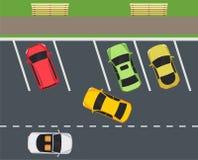 Estacione com lugares de estacionamento, chamadas do carro dentro no estacionamento ilustração royalty free