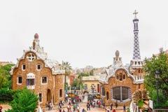 Estacione Guell pelo arquiteto Antoni Gaudi em Barcelona, Espanha Fotos de Stock